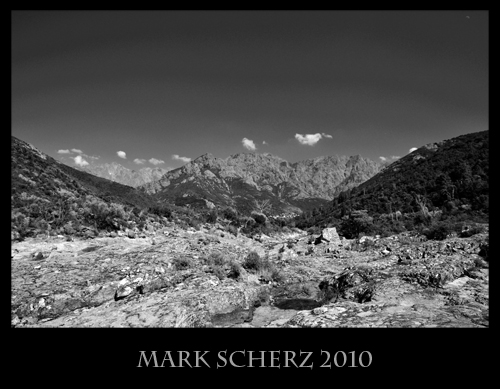 Corsica Mountains in Black and White 1