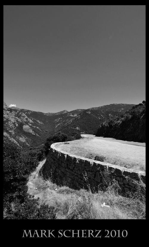 Road through Corsica's mountains in Black and White