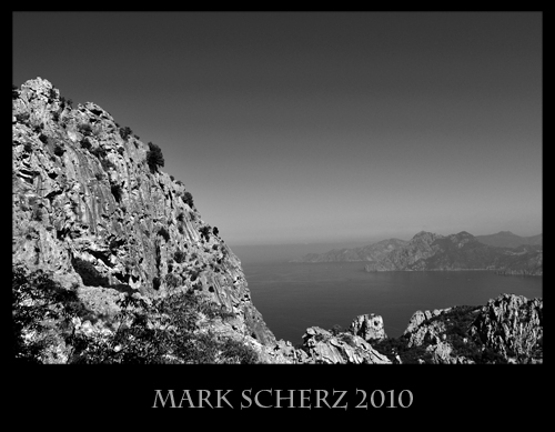 The Calanques of Corsica in black and white 3
